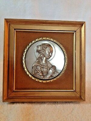 Antique MADONNA MARY PRAYING PEWTER  FRAMED RELIEF Signed by Artist! LOWER PRICE