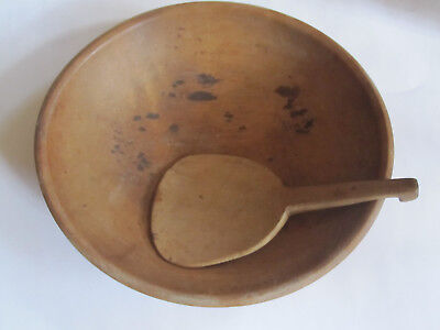 "vintage Antique Wooden WOOD 12"" DOUGH BOWL- Wooden butter paddle"