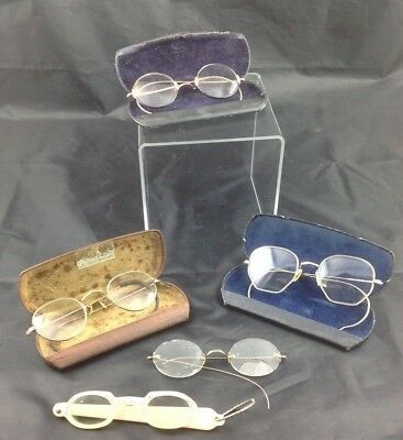 Antique Eye Glasses Spectacles lot 12K Gold Fill Bifocal Artcraft Shure-On Cases