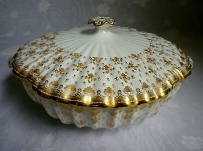 Spode Fleur De Lys Gold Y8063 Round Covered Vegetable Serving Bowl