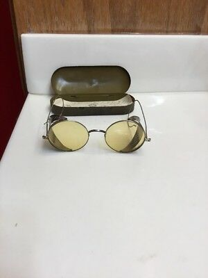Vintage  WILLSON  Sunglasses /Goggles, Safety Glasses,Yellow Tint,Pat1918 w/case