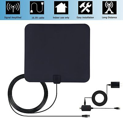 Flat HD Digital TV Antenna Indoor HDTV Fox with Amplifier VHF UHF 50 Miles US