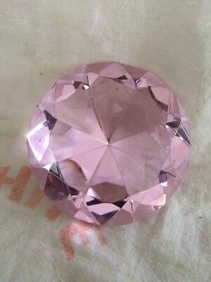 Vintage Large CRYSTAL Clear FACETED Cut Glass Diamond Shaped Paper Weight