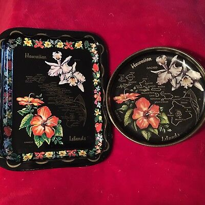 Vintage HAWAII Islands Lot Of 2 State Souvenir Tin Metal Trays