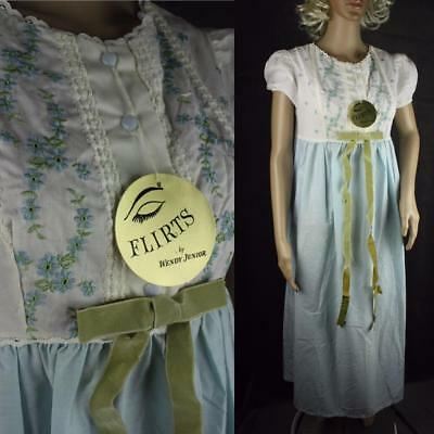 Vintage 60s 70s NWT Flirts Wendy Jr Embroidery Nightgown Cotton Poly Blue White