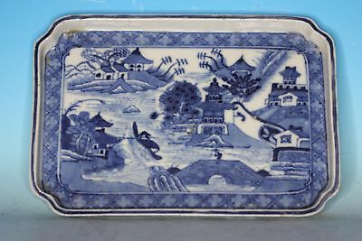 Fine Chinese Blue And White Porcelain Antique Tea Tray With Landscaping
