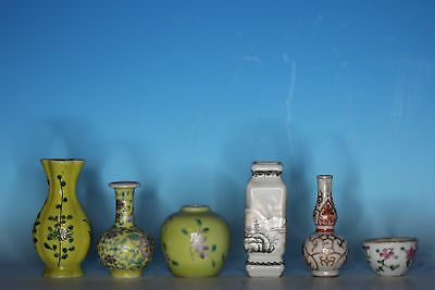 Group Of Six Chinese Porcelain Smalls Vases Cup, Jar Water Pot Etc.