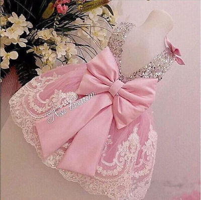 Sliver Bling Sequins Pink White Lace baby Birthday Party Dress flower girl dress