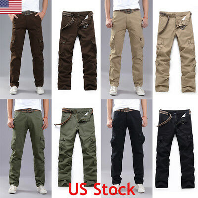 58d8dd842a61 US Mens Elasticated Summer Trousers Cargo Combat Pocket Lightweight Work  Pants