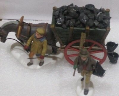 """Dept 56 Heritage Village Collection """"Delivering Coal for the Hearth"""" Set of 2"""
