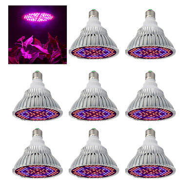 1/2/4/8Pcs 80W E27 Full Spectrum Grow Light Bulb with Blue & Red and IR + UV LED