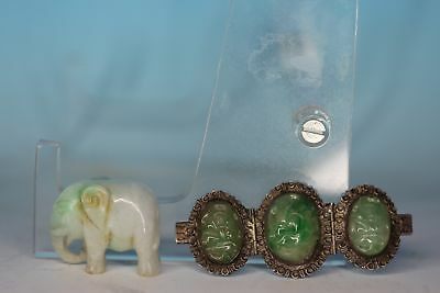 Group Of Two Chinese Antique Silver Mount Jadeite Pin And Elephant