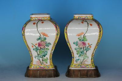 Pair Chinese Famille Rose Porcelain Antique Vase With Stand