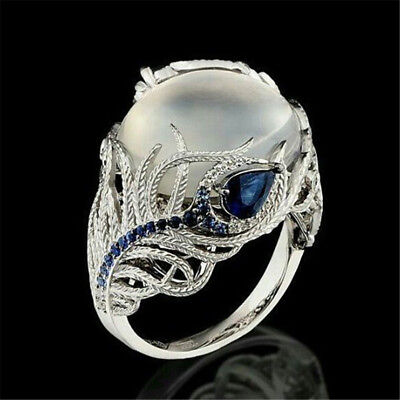 Prom 925 Silver Huge Moonstone Women Jewelry Wedding Bridal Party Ring Sz6-10