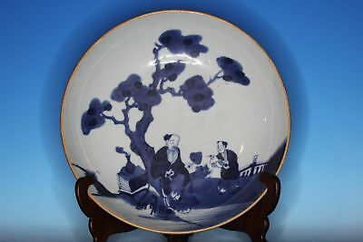 Large Chinese Blue And White Porcelain Antique Plate