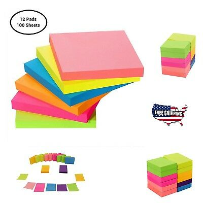 Post-It Sticky Notes Pop Up Memo Reminder Neon Colors 12 Pads 100 Sheets
