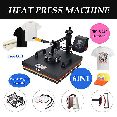 "6 in 1 Heat Press Machine For T-Shirts 15""x15"" Combo Kit Sublimation Swing Away."