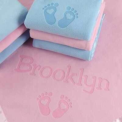 PERSONALIZED Satin Trim Custom Blanket with Name Plus Hearts and Feet Design