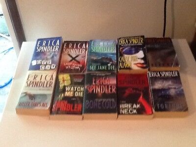 lot of 10 ERICA SPINDLER mystery/suspense books