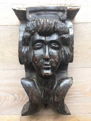 ANTIQUE 19th CENTURY FRENCH Hand Carved Wooden Figure,ARCHITECTURAL SALVAGE