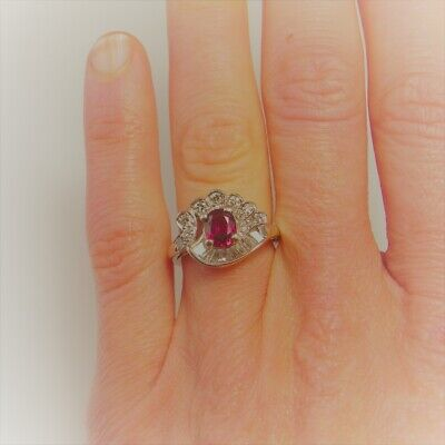 ART DECO ANTIQUE NO HEAT Unheated RED RUBY Diamond Engagement Ring Platinum VS F