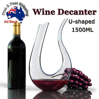 1.5L 1500ML Crystal Glass U-shaped Horn Wine Decanter Pourer Wine Container B