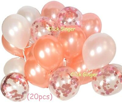 Rose Gold Metallic White Pearl Confetti Balloons (20pcs) Helium Quality Girls