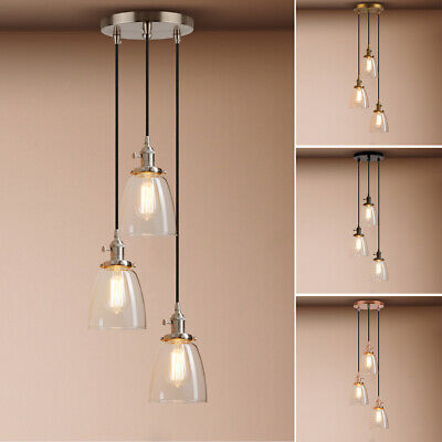5.9-inch  3 Light  Cluster Pendant Light Cloche Glass Ceiling Lamp With Switches