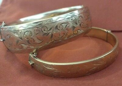 Lot Of Two 1/5Th 9Ct Gold Rg Victorian Bracelets Marked Stamped Antique Vintage