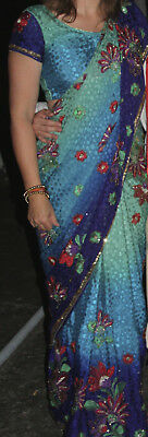 Sari - Turquoise, Purple, Green with Gold Metalwork and Beadwork and underskirt