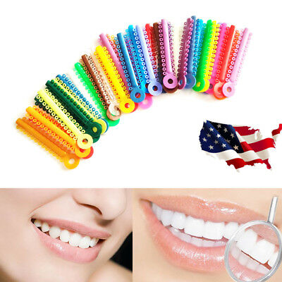 Dental Orthodontic Multi color Stick Ligature ties Rubber Bands Rings Elastic