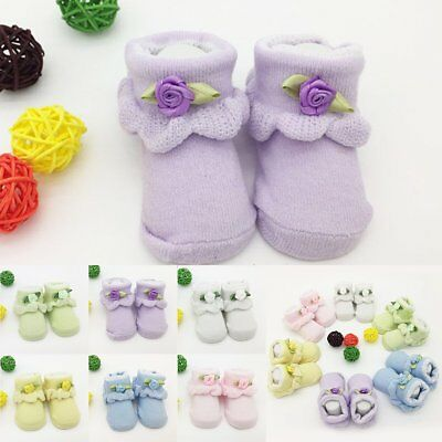 0-6 Month Newborn Baby Girl Boy Anti-Slip Cotton Socks Slipper Shoes Boots Hot
