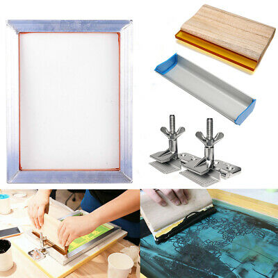 A3 Screen Printing Kit Aluminum Frame + Hinge Clamp + Emulsion Coater + Squeegee