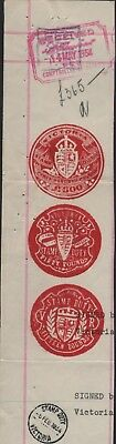 3 x Red Ink Stamp Duty Stamps  - 300 Pound, Fifty Pound, Fifteen Pound