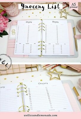 Grocery Shopping list Meal planning A5 Planner Refill Filofax Inserts