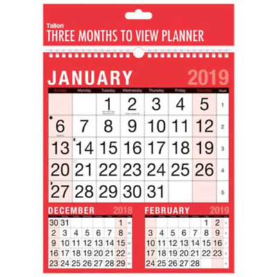 2018 A4 3 Month To View Spiral Bound Wall Planner Calendar 3804