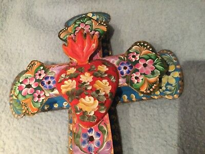 Mexican Colourful Religious Cross/ Crucifix Folk Art Punched Tin Handpainted