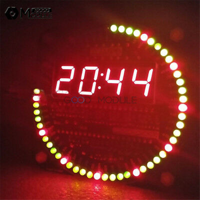 5V DS1302 Rotating LED Electronic Digital Clock DIY Kit 51 SCM Learning Board