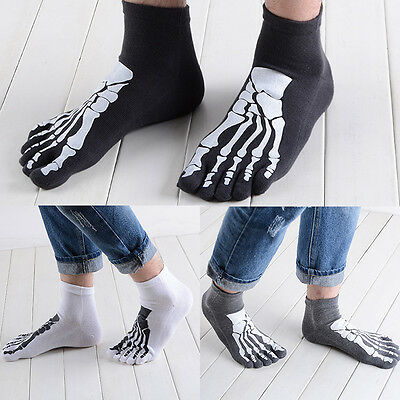 Cotton Blend Men's Five Fingers 5 Toe Socks Absorbent Stocking Skull Skeleton ss