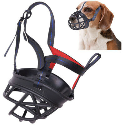 Dog No Bite Muzzle Adjustable Soft Plastic Mesh Basket Black 7-8 inchs