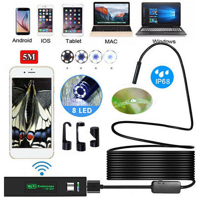 8 LED 5M WIFI Endoscope Wireless Borescope Inspection Camera For Android iPhone