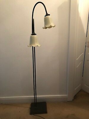 Vintage Retro Standard Floor Lamp Twin Lamp Glass Shade
