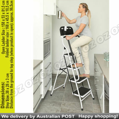 Fold Out Steel Ladder With Oversized Steps Step Up More Safely & Securely