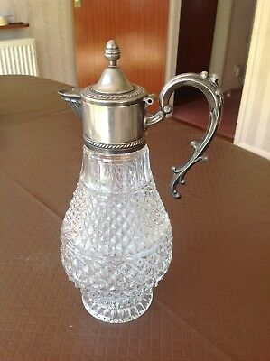 Italian silver plated top, glass ewer