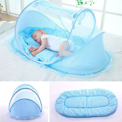 Foldable Infant Baby Mosquito Net Cot Tent Mattress Cradle Bed With Pillow KEY