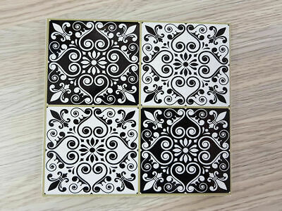Self adhesive Tile Sticker Classic Black & White - 15cm x 15cm Pack of 18