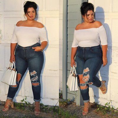 WOMENS PLUS SIZE Distressed Knee Hole Ripped Stretch JEANS SKINNY TWILL PANTS