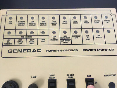 Generac 004996-0 20 Light Remote Annuciator Panel Surface Mount Tested & Working