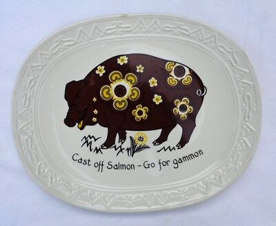 """BARRATTS OF STAFFORDSHIRE. authentic """"PORKERS"""" plate. """"CAST OFF SALMON"""" RETRO !!"""