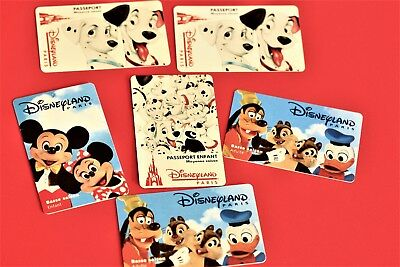 Lot de 6 anciennes cartes Disneyland Paris : Mickey, Donald, les Dalmatiens...